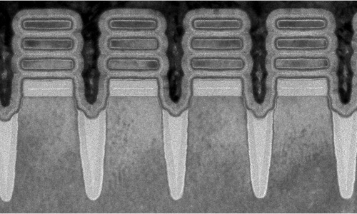 IBM's 2-nanometer transistors, as seen through an electron microscope.